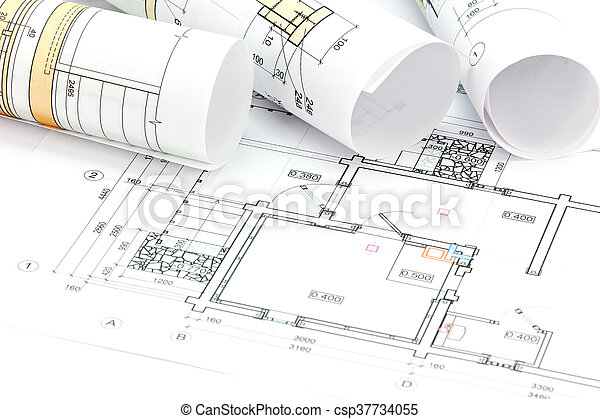 Architectural plans and technical drawings with rolls of stock architectural plans and technical drawings with rolls of blueprints csp37734055 malvernweather Gallery