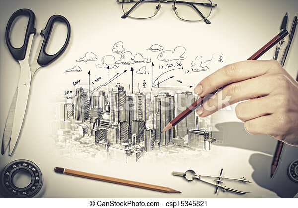 Architectural Project Stock Illustration