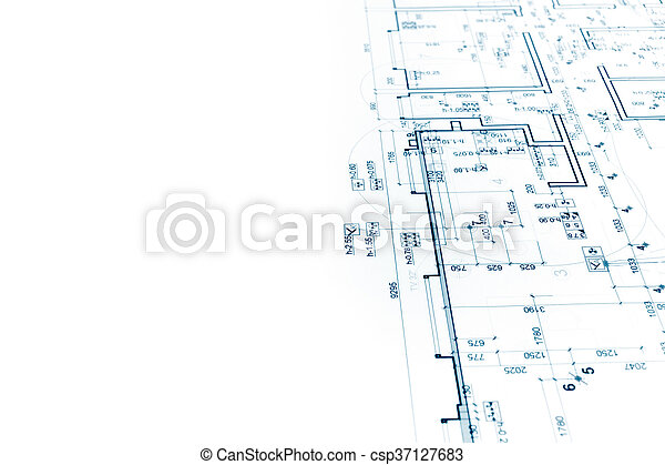Architectural Project, Construction Plan Blueprint, Technical Drawing    Csp37127683