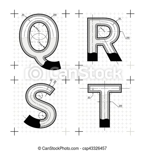 Architectural sketches of q r s t letters blueprint style font architectural sketches of q r s t letters blueprint style font csp43326457 malvernweather Images