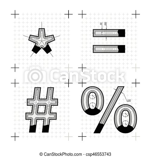 Architectural sketches of special signs blueprint style eps architectural sketches of special signs blueprint style font vector malvernweather Gallery