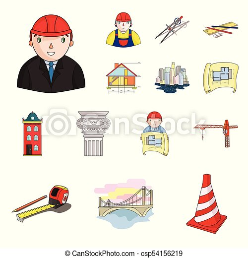 Architecture And Construction Cartoon Icons In Set Collection For