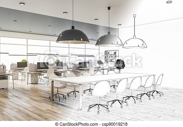 Architecture and engineering concept with blueprint of eco style coworking office interior with big windows - csp90019218