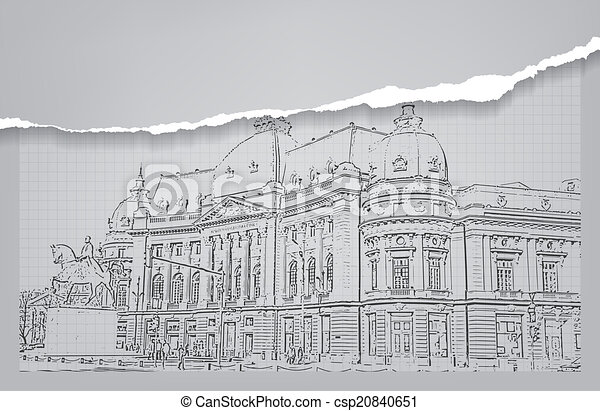 Architecture bâtiment sketch dessin csp20840651
