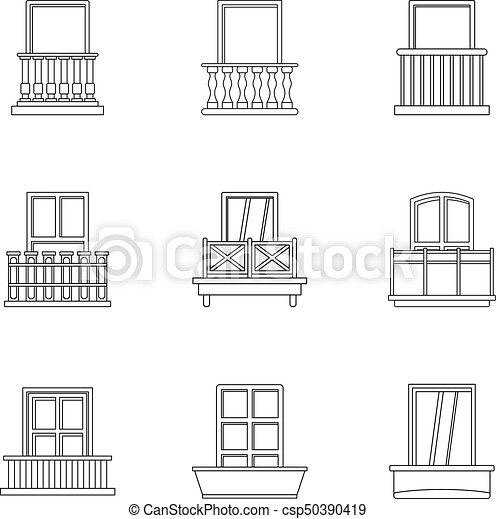 Architecture Balcony Icon Set Outline Style Vector