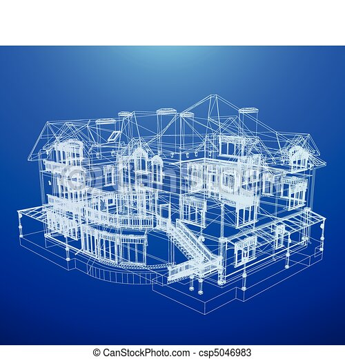 Architecture blueprint of a house over a blue background vectors architecture blueprint of a house csp5046983 malvernweather Images