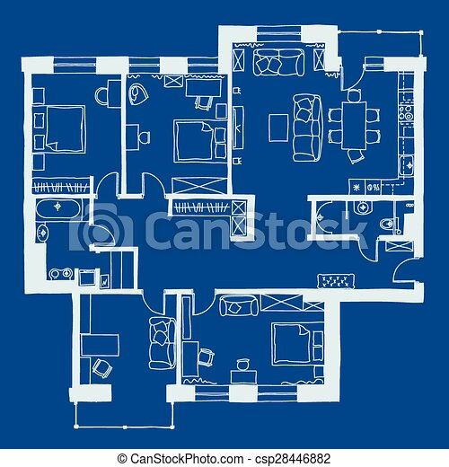 Architecture blueprint plan architectural drawing apartment plan architecture blueprint plan csp28446882 malvernweather Image collections