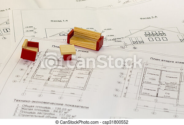 Architecture drawings and plans of the house - csp31800552
