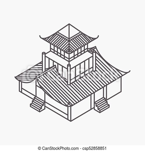 Architecture Element In Oriental Style Outline Isometric Pagoda House Chinese And Japanese Vector