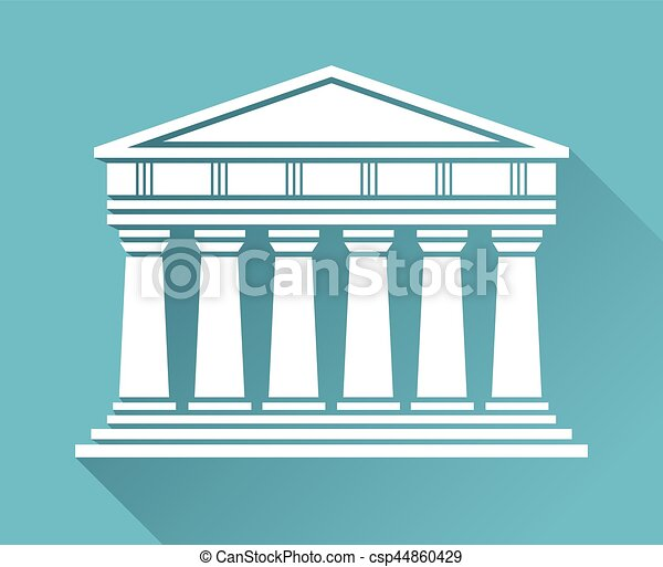 Architecture greek temple icon isolated on blue background ...