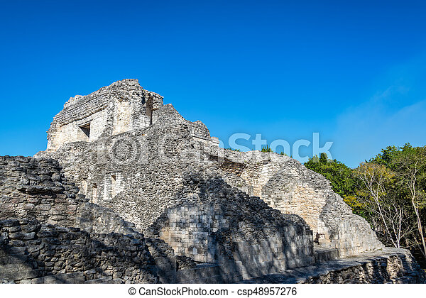 Ancient Mayan architecture in the ruins of Becan, Mexico