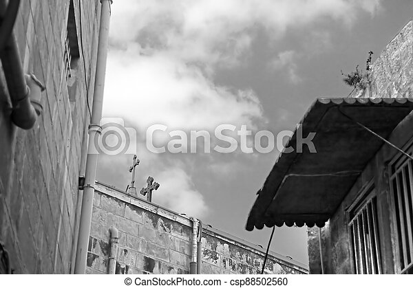 Architecture in The Old City (Christian Quarter) of Jerusalem, Israel - csp88502560