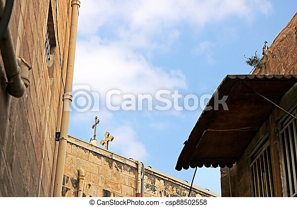Architecture in The Old City (Christian Quarter) of Jerusalem, Israel - csp88502558
