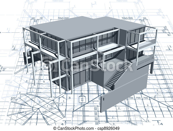 Architecture model house with blueprint. Vector - csp8926049
