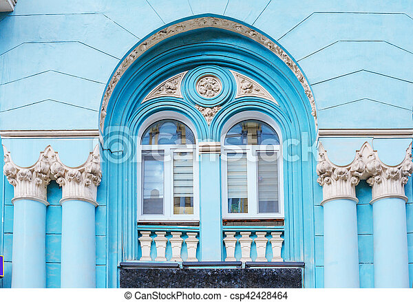 architecture of the historic building. Facade with pillars and Arch - csp42428464