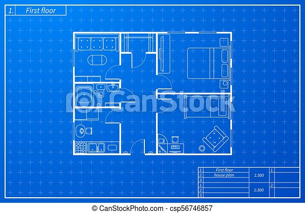 Architecture plan of house in blueprint sketch style architecture architecture plan of house in blueprint sketch style csp56746857 malvernweather Gallery