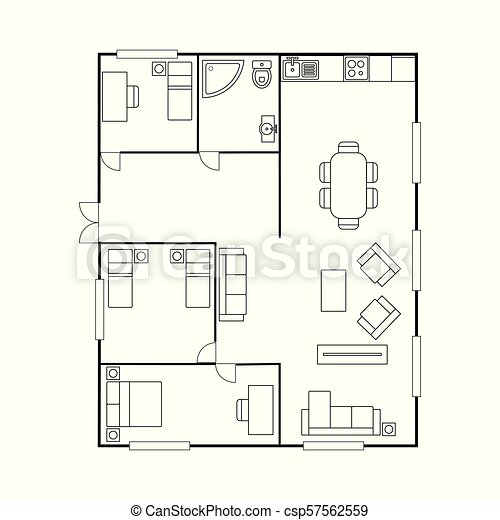 Architecture Plan With Furniture House Floor Plan Isolated On White Background Stock Vector Illustration Canstock