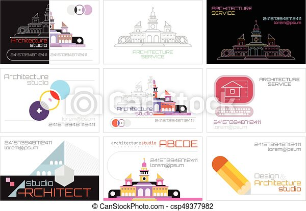 Architecture studio business cards set of nine architecture architecture studio business cards csp49377982 reheart Image collections