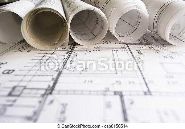 architekt, brötchen, pläne - csp6150514