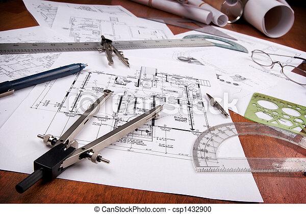 Suche Architekt architekt werkzeuge ingenieur pläne hölzern stockfotografie