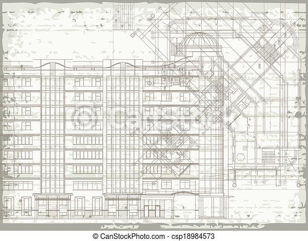 architektonisch, grunge, beige, beschaffenheit - csp18984573