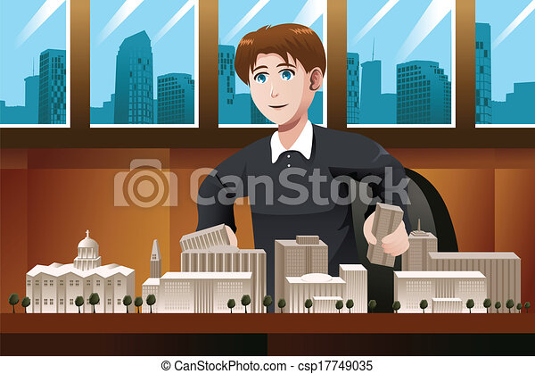 architetto, lavorando ufficio - csp17749035