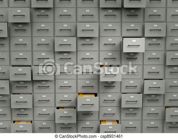Archive cabinets with folders - csp8931461