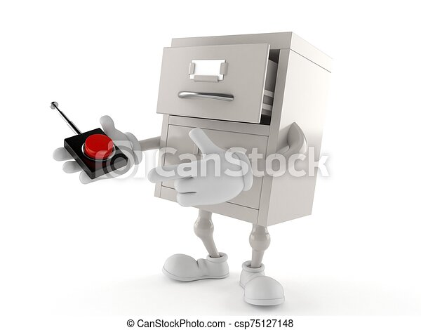 Archive character pushing button on white background - csp75127148