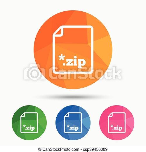 Archive file icon. Download ZIP button. - csp39456089