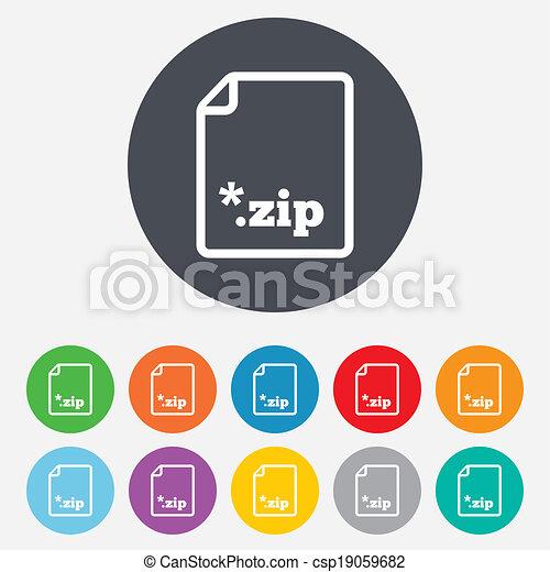 Archive file icon. Download ZIP button. - csp19059682