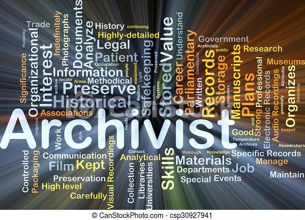 Archivist background concept glowing - csp30927941