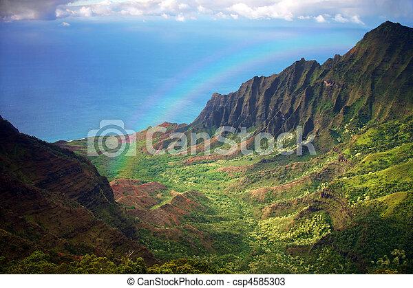 arco íris, aéreo, fron, litoral, kauai, vista - csp4585303