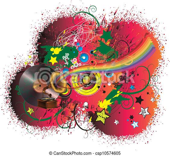 arco íris, abstratos, música, fundo - csp10574605