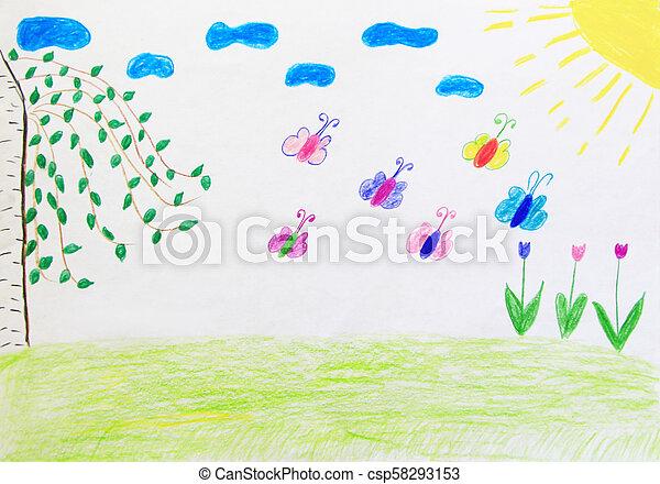 Arco Iris Clareira Infantil Borboletas Flores Desenho Arco