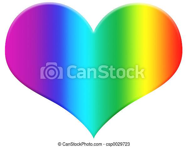arco íris, coração - csp0029723