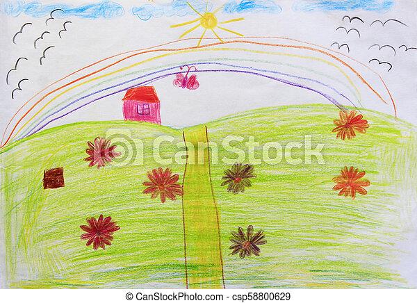 Arco Iris Flores Desenho Coloridos Crianca Arco Iris Olhos