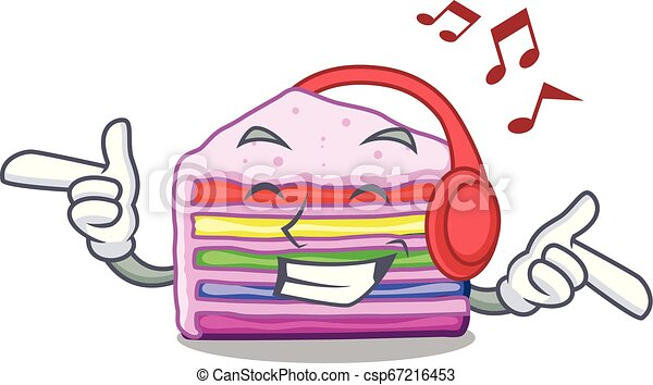 arco íris, forma, escutar música, bolo, caricatura - csp67216453