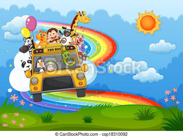 arco íris, hilltop, jardim zoológico, céu, autocarro - csp18310092