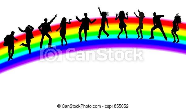arco íris, silhuetas, dançar, pessoas - csp1855052