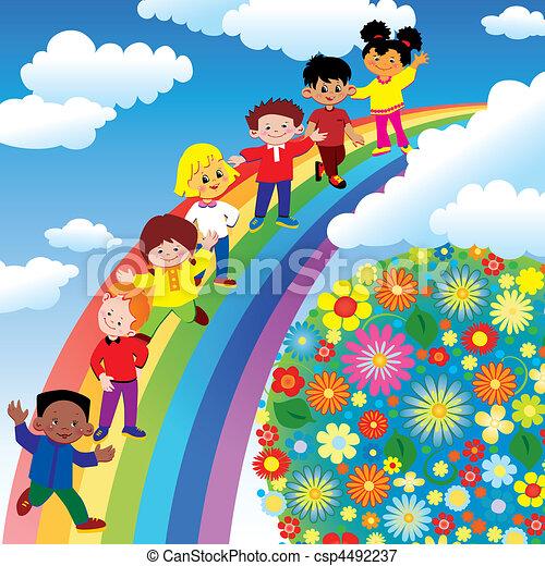 arco íris, slide., crianças - csp4492237