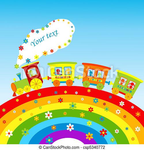 arco íris, trem, texto, ilustração, caricatura, lugar, seu - csp5340772