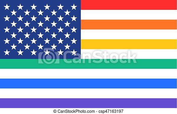 arco íris, unidas, cartaz, estados, bandeira, américa - csp47163197