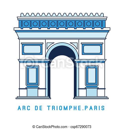 Arco triunfal de la línea de arte, arco de Triunfo, París, famoso monumento europeo, ilustración vectorial en estilo plano. - csp67290073