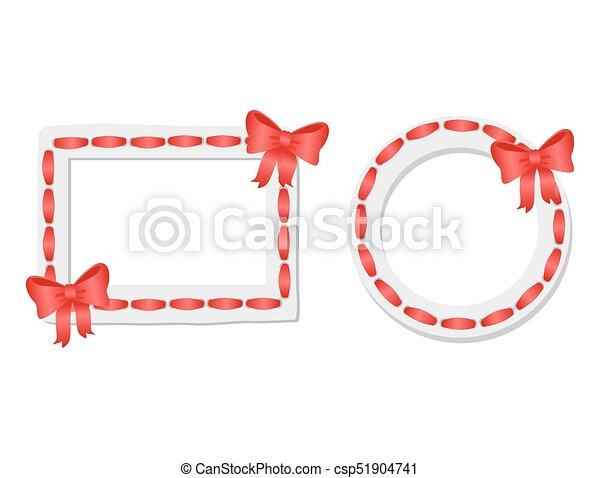 Arco, cinta, marcos, rectangular, redondo, rojo. Decorativo ...