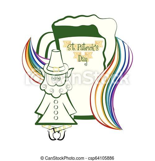 Un trago de cerveza con un arco iris y un elfo irlandés - csp64105886