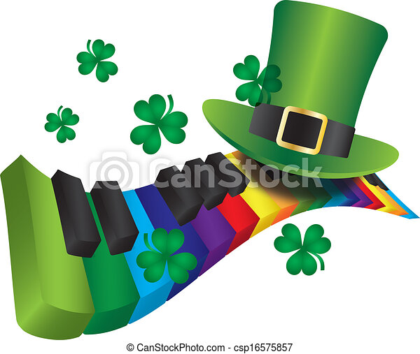 Sombrero de duende con teclado de piano color arcoíris - csp16575857