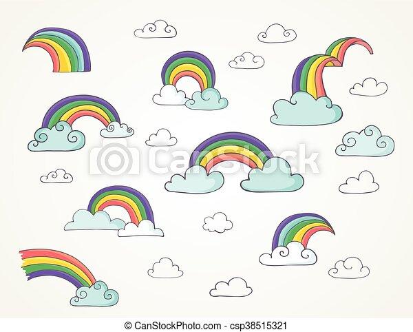 Rainbow, lindo juego de ilustraciones de vectores dibujados a mano - csp38515321
