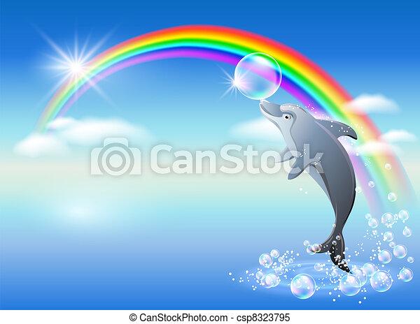 Arco iris y delfines - csp8323795