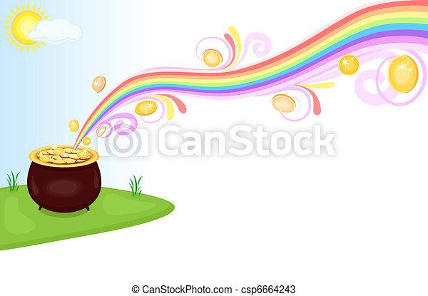 Una olla de oro al final del arco iris - csp6664243