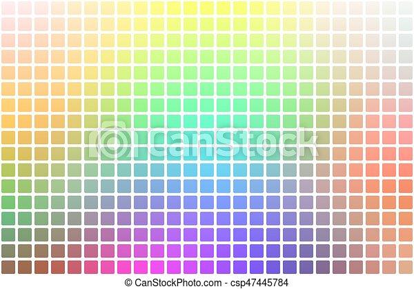 Un arcoiris de arcoiris claro, alrededor de un fondo mosaico sobre blanco - csp47445784